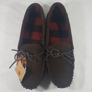 Dark Brown Moccasin Slippers Genuine Leather